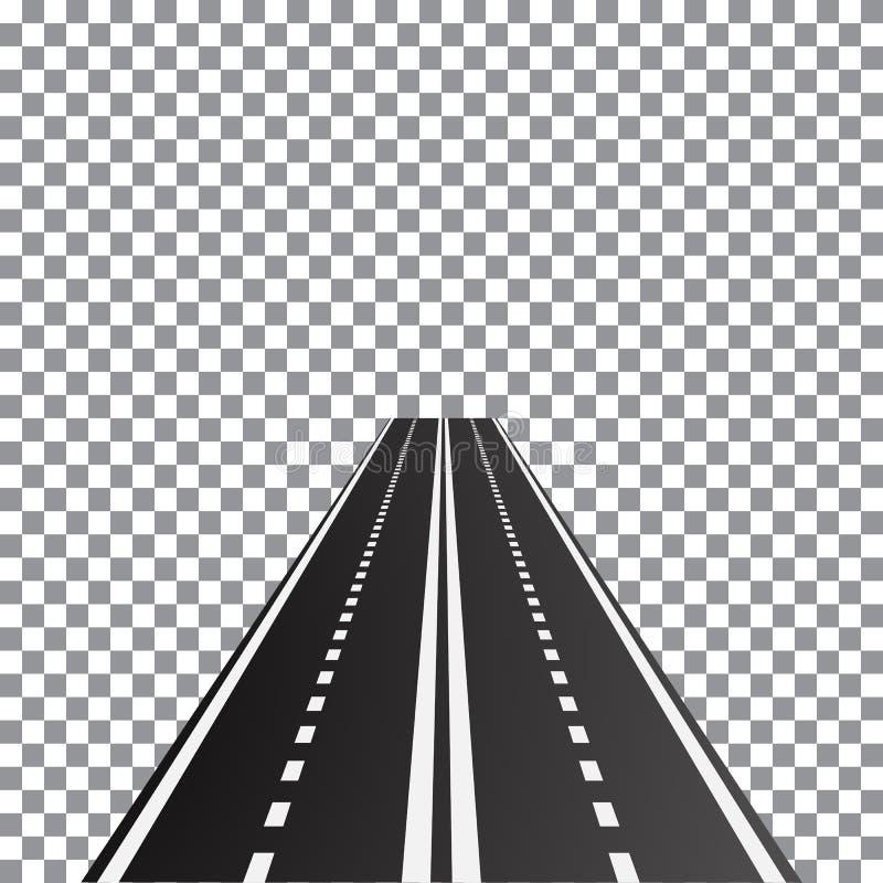 透视双线车道路的传染媒介例证, 库存例证