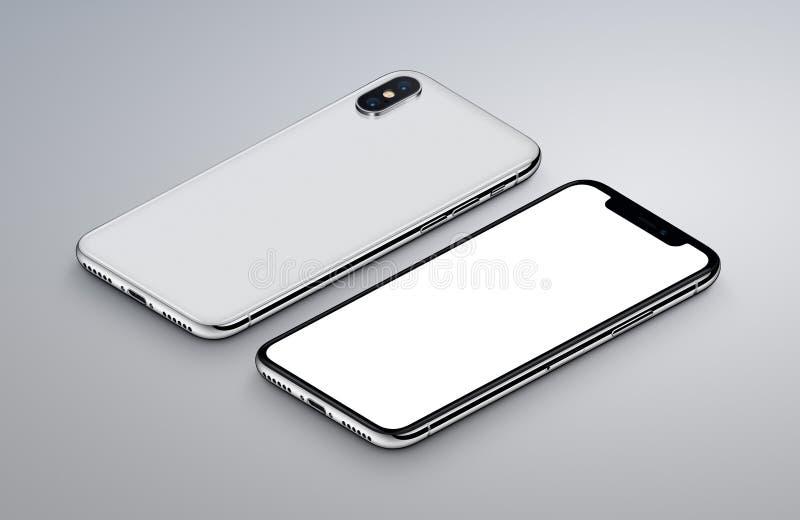 透视图等量白色智能手机大模型前面和后部说谎灰色表面上 皇族释放例证
