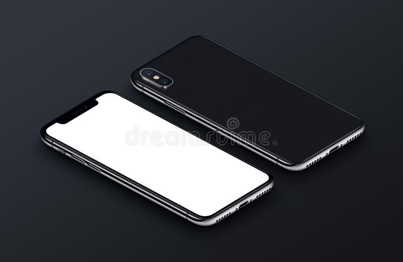 透视图等量白色智能手机大模型前面和后部说谎黑表面上 库存例证
