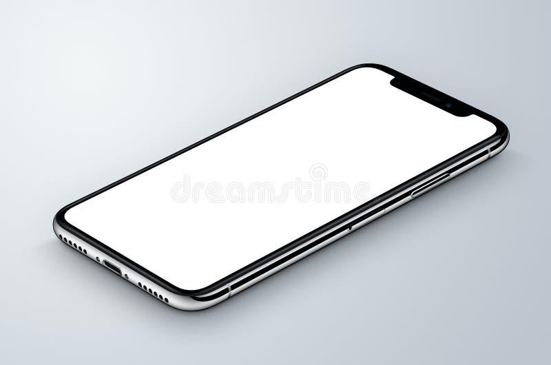 透视图等量白色智能手机大模型说谎灰色表面上 向量例证