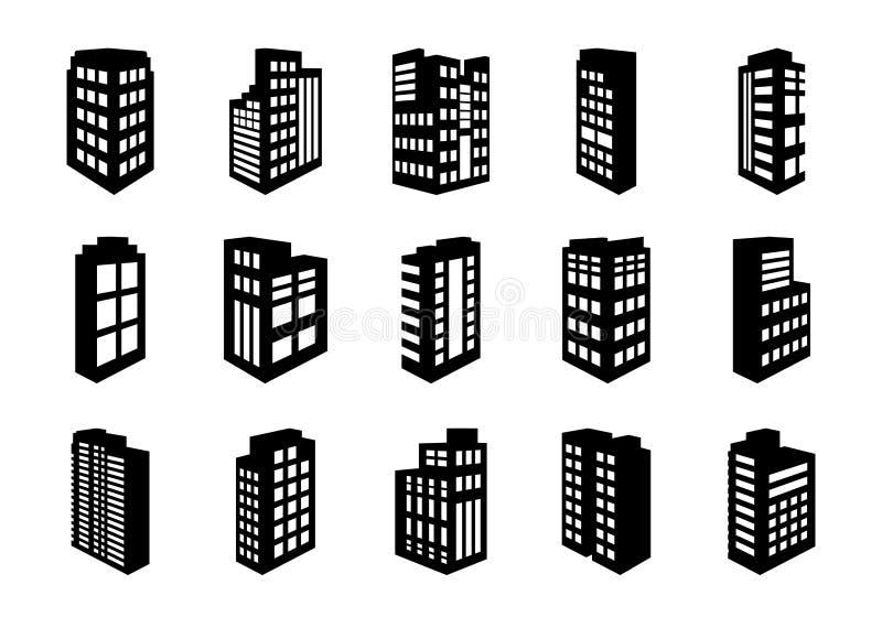 透视在白色背景设置的象公司,黑修造的办公室传染媒介收藏 向量例证
