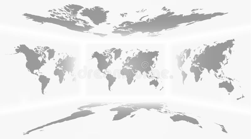 透视室和套所有旁边世界地图背景 向量 皇族释放例证