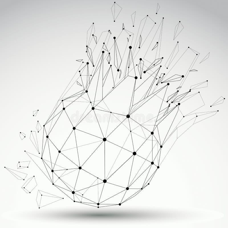 透视技术拆毁了与黑线的形状,并且小点连接了,多角形wireframe对象 爆炸作用, 库存例证