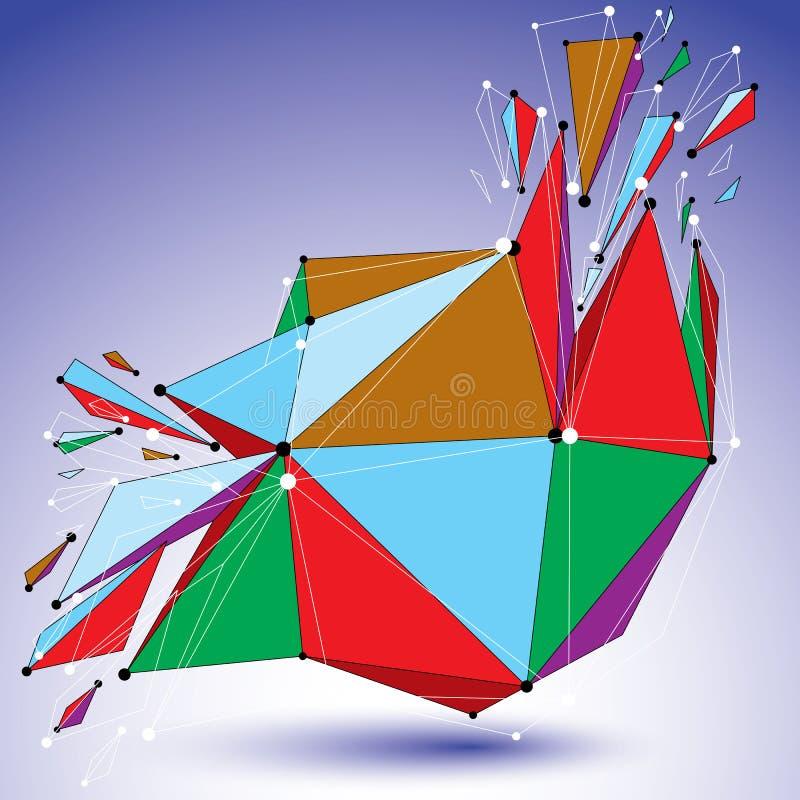 透视拆毁了被连接的形状、线和小点,明亮的p 库存例证