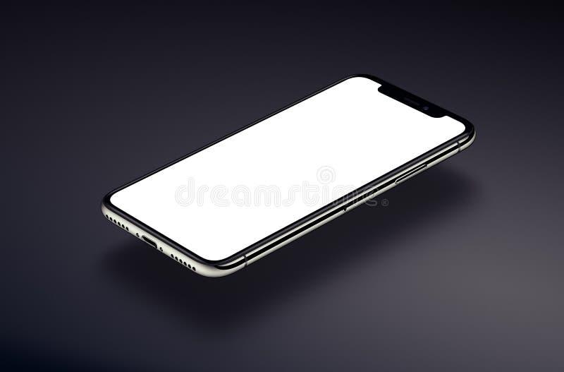 透视智能手机大模型盘旋在黑暗的表面 向量例证
