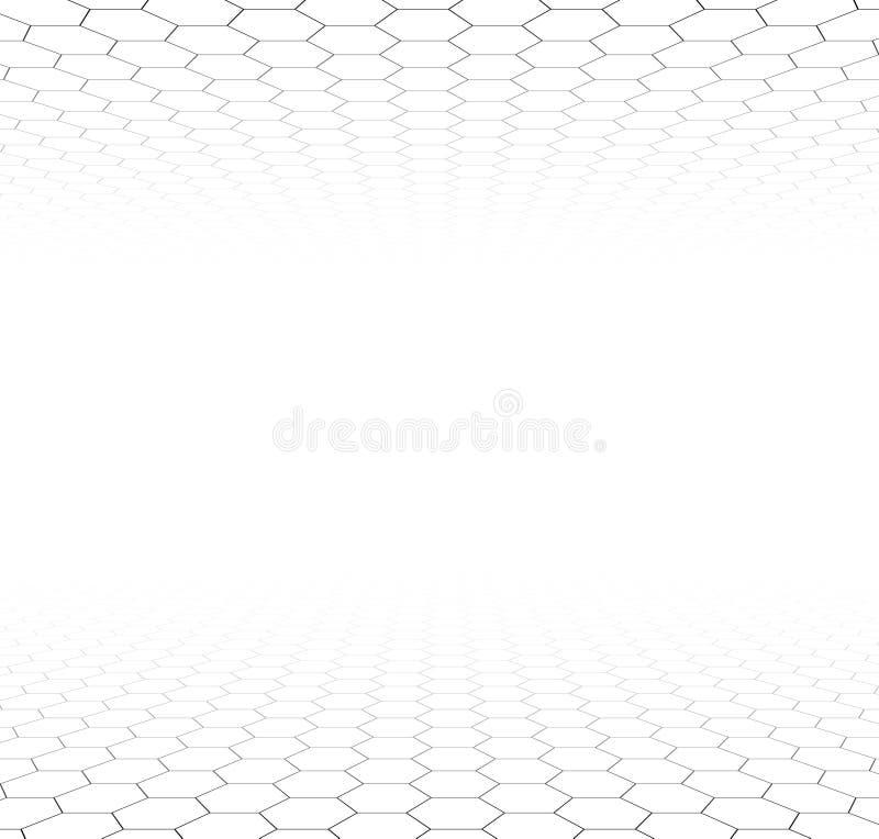 透视栅格六角表面 库存例证