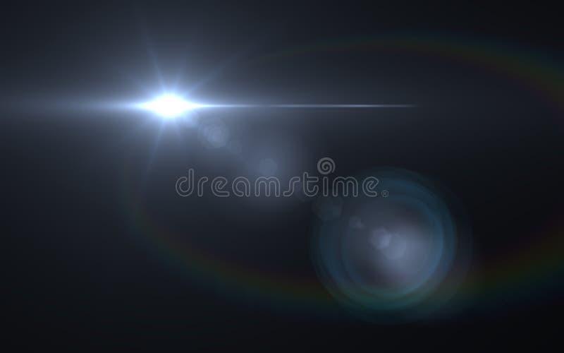 透镜在背景的火光光 容易增加覆盖物或网式滤油器在照片 库存例证
