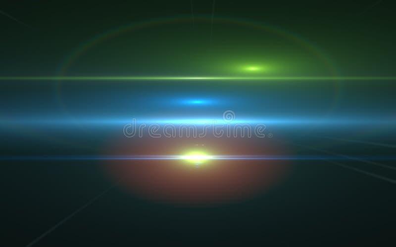 透镜在黑背景的火光光 容易的替换综合层数在屏面方式下 免版税库存照片