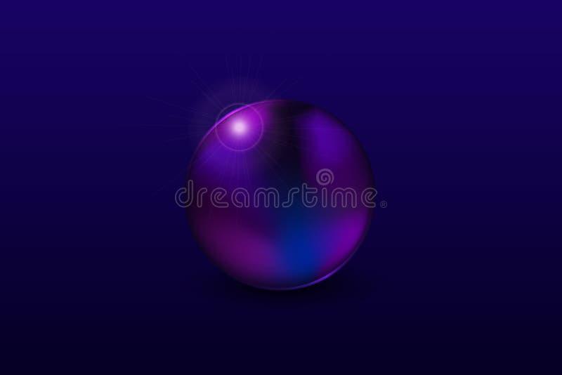 透镜摘要与光反射圆形球球形的圈子对象 向量例证