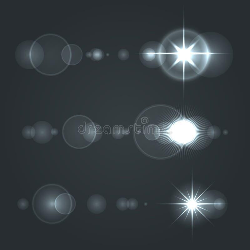 透镜火光集合太阳有透明背景 库存例证