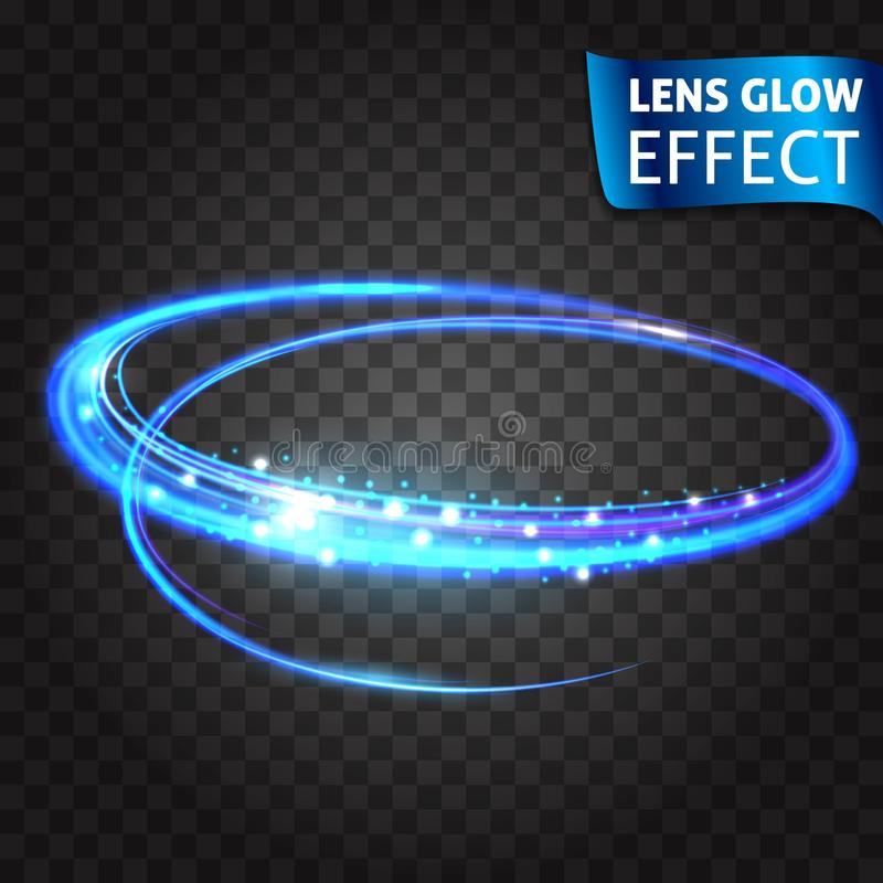 透镜焕发作用 霓虹系列套猫抓痕 明亮的霓虹发光的作用 透明的背景 抽象发光 皇族释放例证