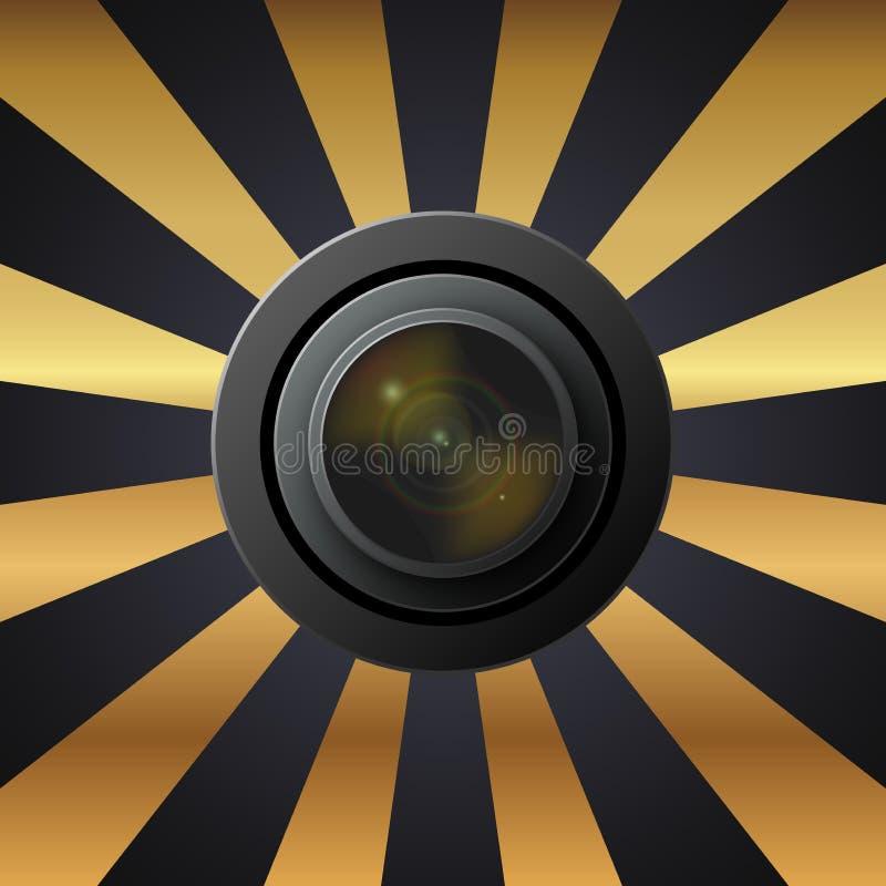 透镜照相机,灰色金子的样式在背景中开花 向量例证