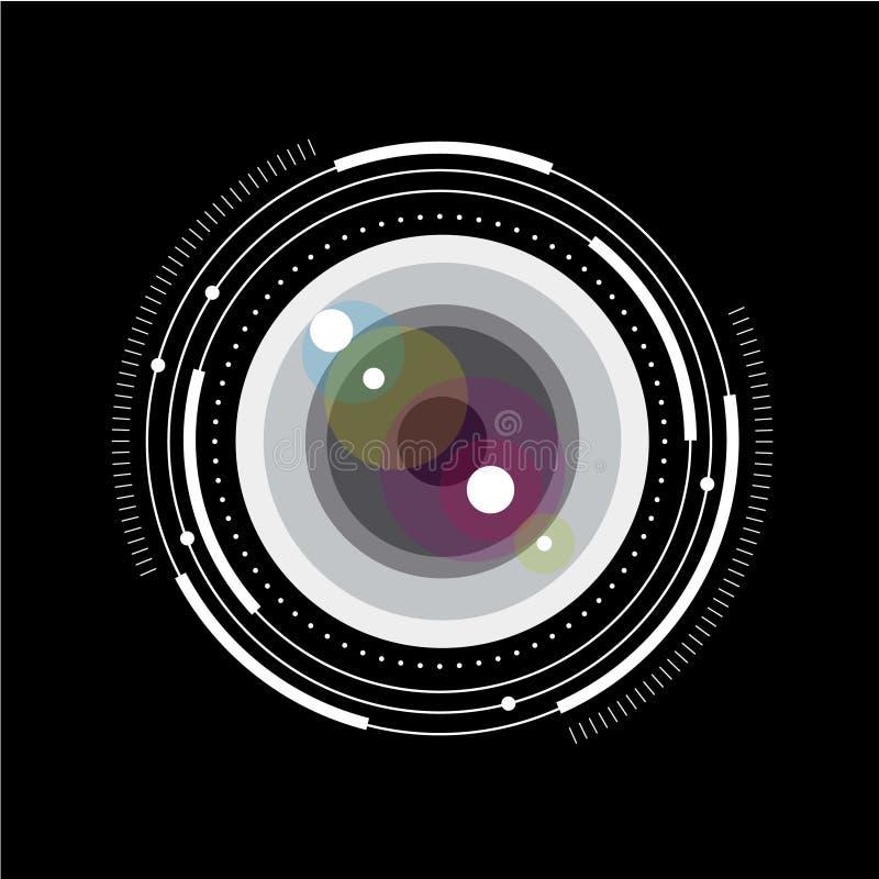 透镜简单的例证 有标度和毕业的玻璃透镜 照片存贮或照片图书馆图片 皇族释放例证