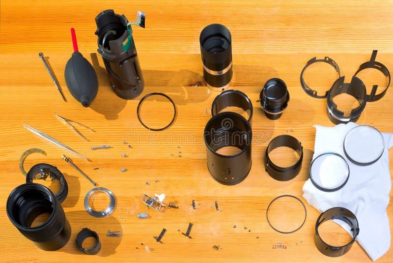 透镜维修服务 库存图片
