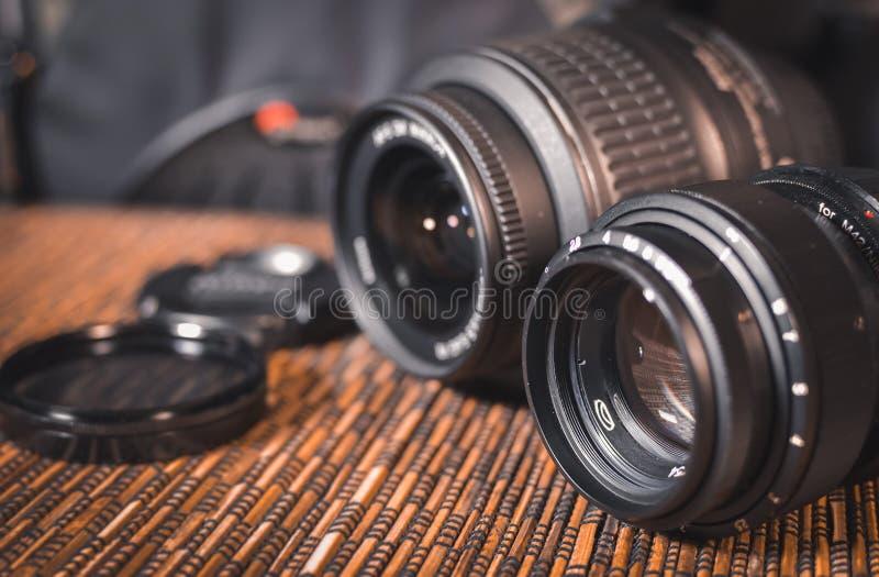 透镜 一套摄影师 防护玻璃 库存照片