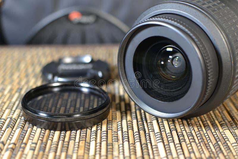 透镜 一套摄影师 防护玻璃 图库摄影