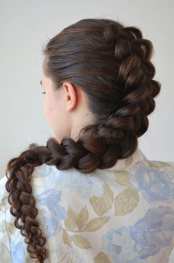 透雕细工法国辫子,与头发的长的长度的发型. 方式, 表面.图片