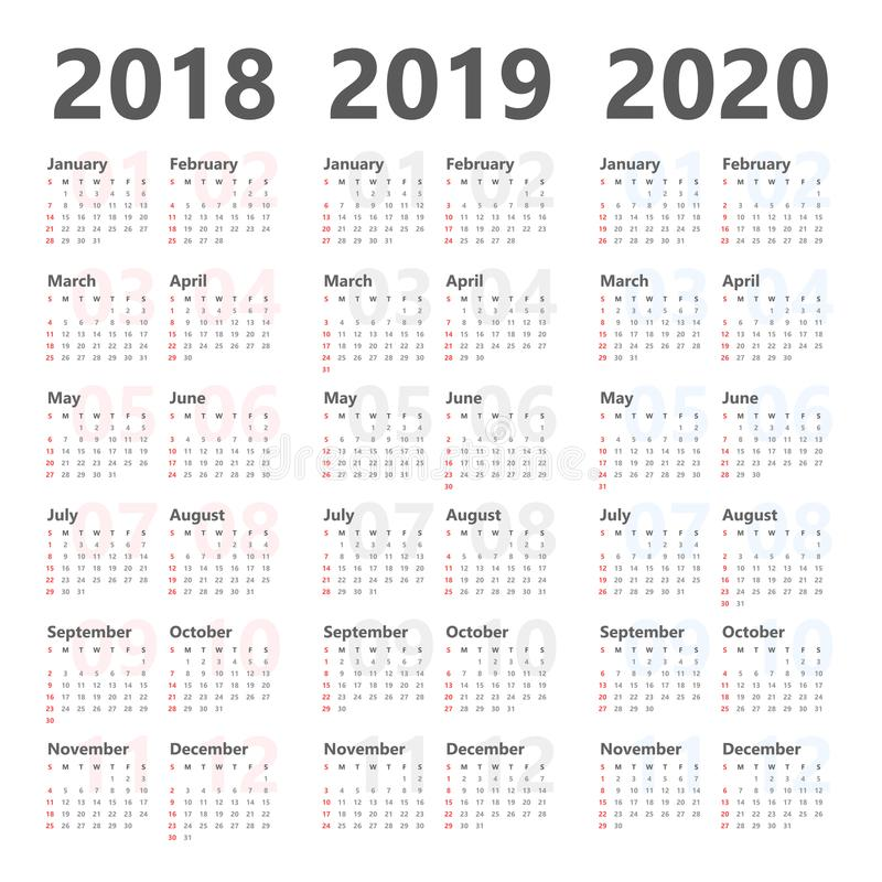 逐年挂历计划者以后3年 2018年到2020传染媒介模板 向量例证