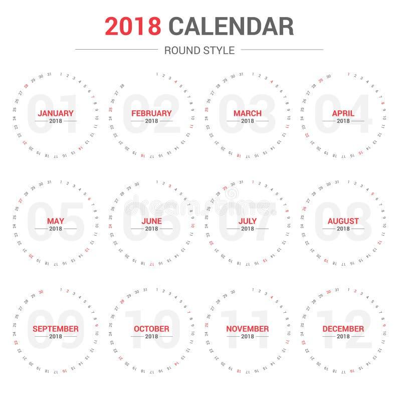 逐年挂历计划者圆的设计模板在2018年 向量例证