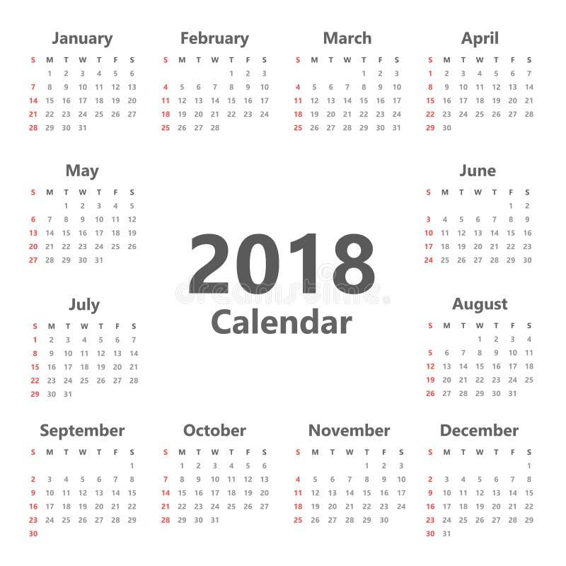 逐年挂历计划者模板在2018年 皇族释放例证
