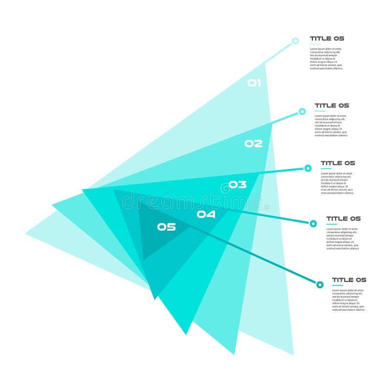 逐步同心图在一系列的三角 图,图表,与5个选择- 20, 40, 60的图的元素 皇族释放例证