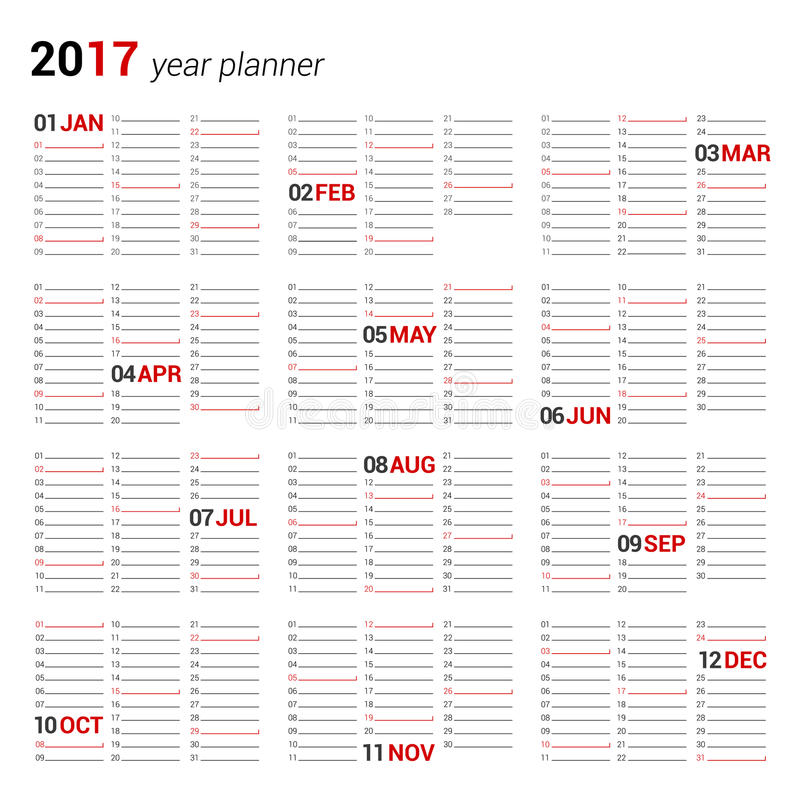 逐年挂历计划者模板在2017年 向量例证