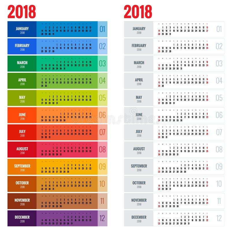 逐年挂历计划者模板2018年 传染媒介设计印刷品模板 星期星期天开始 向量例证