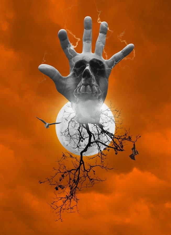 递与人的头骨,烟,死的树,鸟飞行,棒scr的混合 免版税库存照片