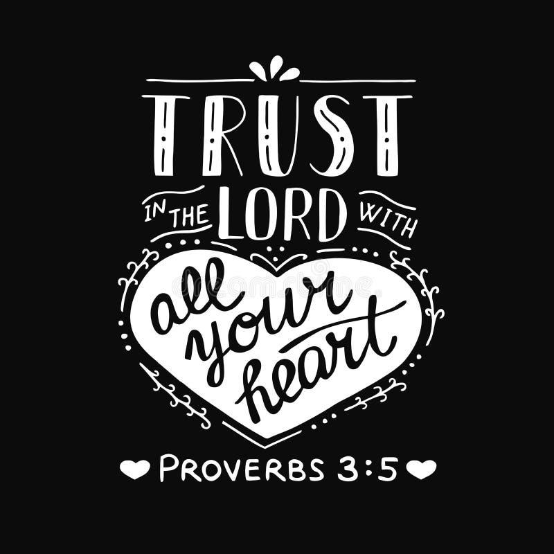递与圣经诗歌信任的字法在有您的心脏的阁下在黑背景 谚语 库存例证