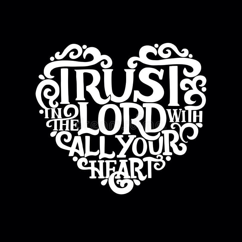 递与圣经诗歌信任的字法在有您的心脏的阁下在黑背景 皇族释放例证