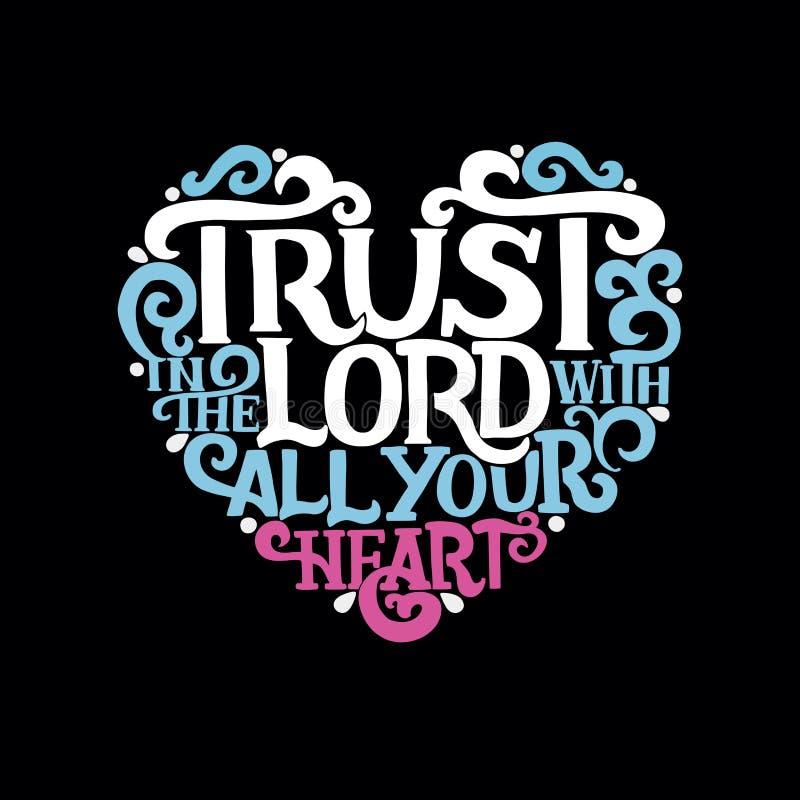 递与圣经诗歌信任的字法在有您的心脏的阁下在黑背景 向量例证