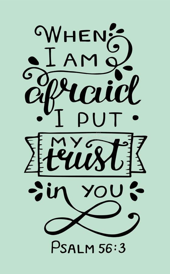 递与圣经诗歌的字法,当我害怕时,投入我的信任在您 赞美诗 库存例证