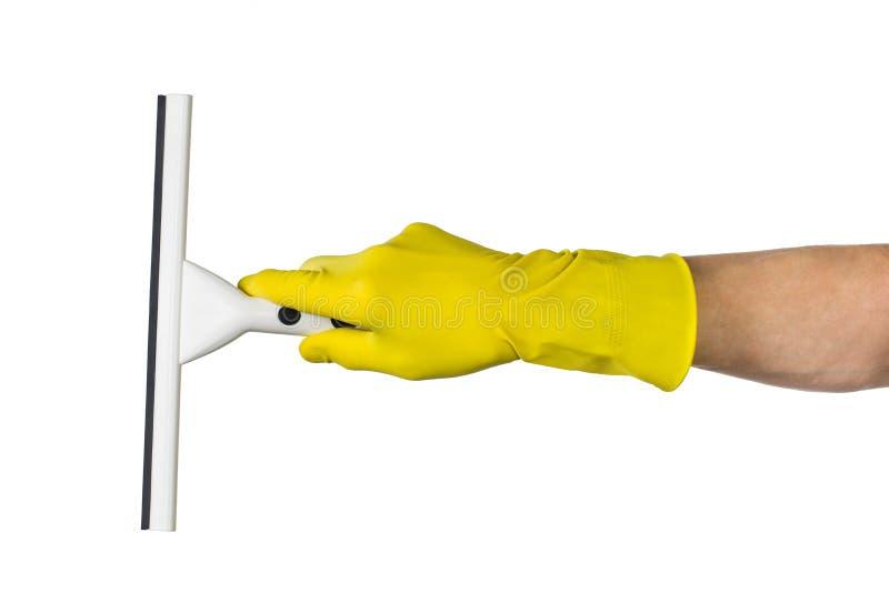 递与橡皮刮板的清洁反对白色背景 图库摄影