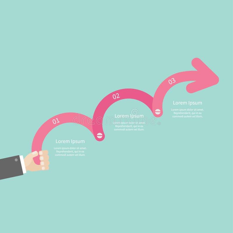 递举行三步桃红色与螺丝时间安排Infographic和文本的向上箭头 模板 平的设计 向量例证