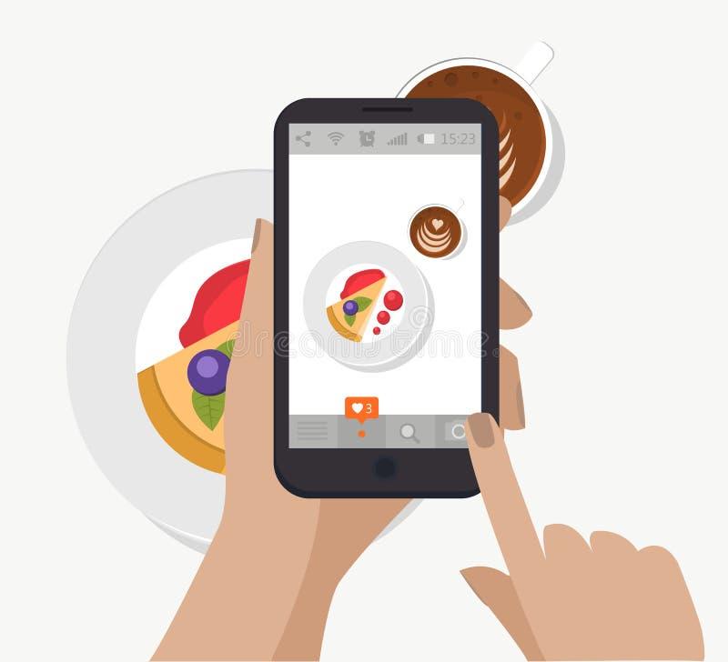 递举行智能手机,触摸屏和采取社会网络的食物摄影 向量 做早餐照片 皇族释放例证