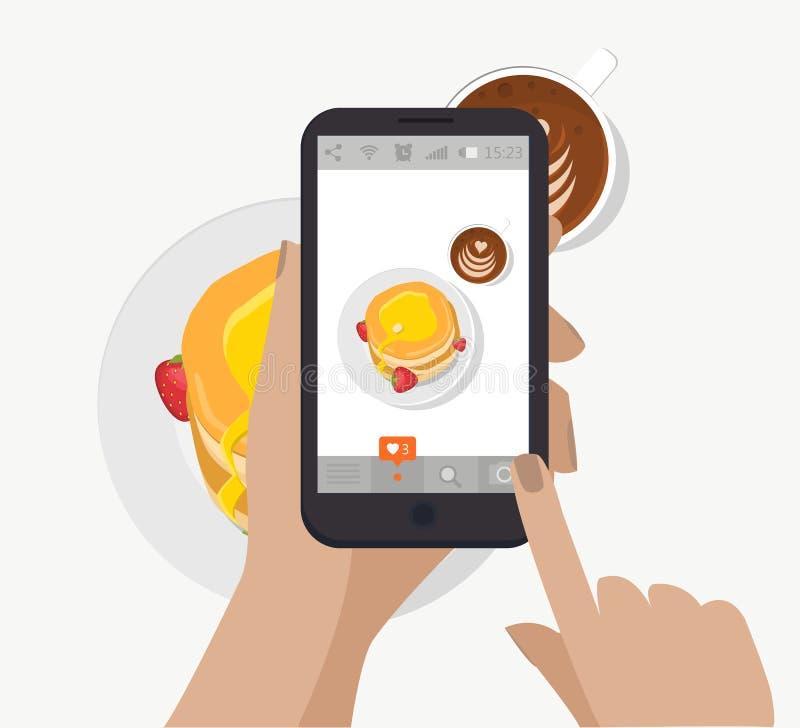 递举行智能手机,触摸屏和采取社会网络的食物摄影 向量 做早餐照片 库存例证