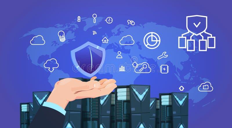递举行盾数据保护云彩与主持infographic,网络和数据库,互联网中心的服务器中心 库存例证