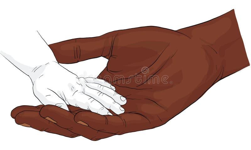 递举行金币传染媒介,握手的手一起导航 皇族释放例证