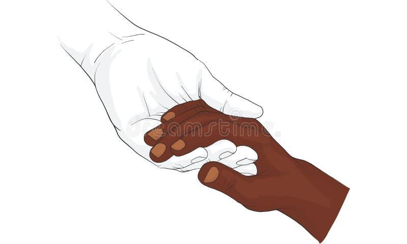 递举行金币传染媒介,握手的手一起导航 向量例证