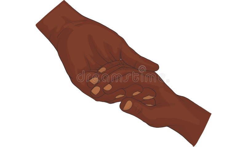 递举行金币传染媒介,握手的手一起导航 库存例证