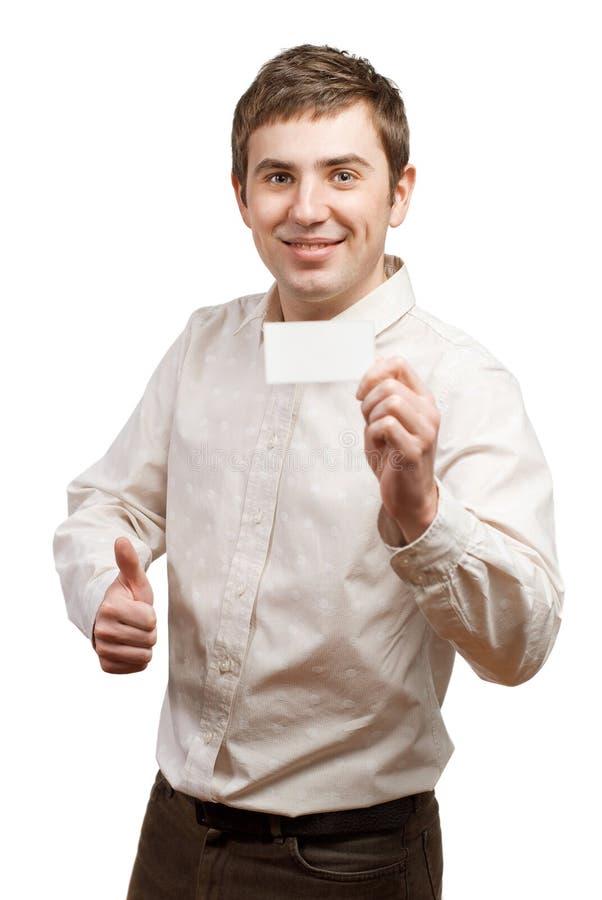 递人的空白名片 免版税库存图片
