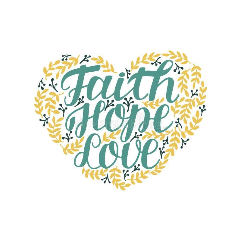 递充满圣经的诗歌信念、希望和爱的字法在心脏形状  皇族释放例证