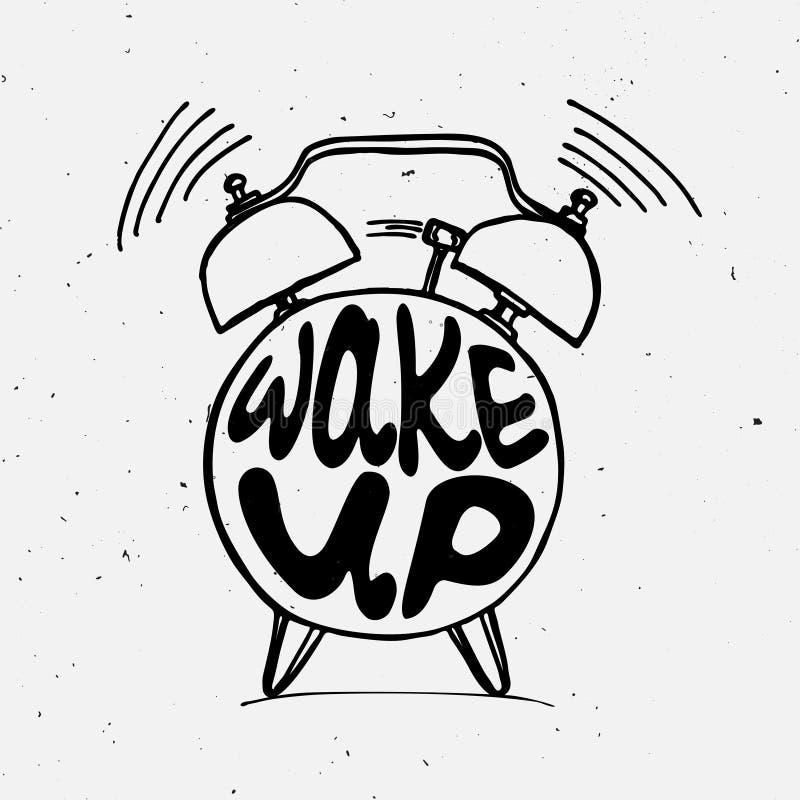 递凹道与字法的闹钟例证醒 叫醒在速写的闹钟的提示图片