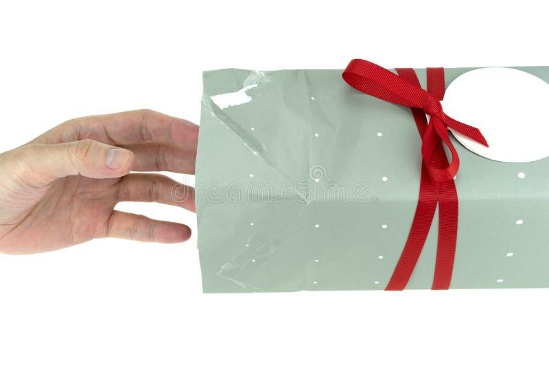 递到达入礼物盒,包括的裁减路线,隔绝在白色背景 库存照片