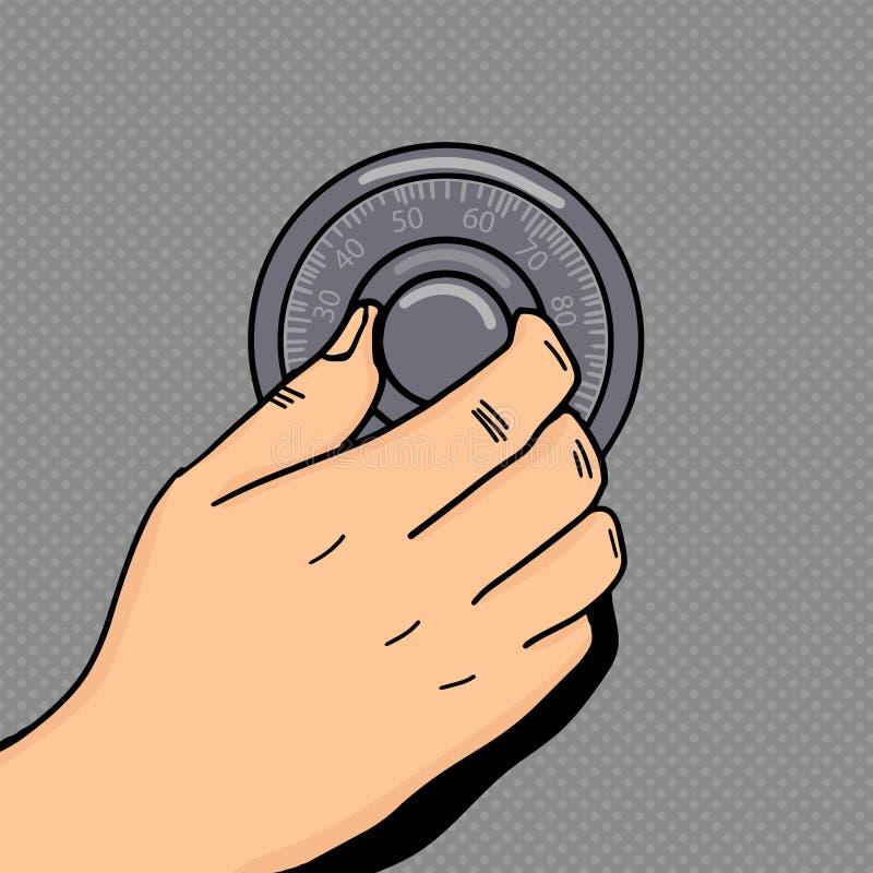 递卷号码锁流行艺术样式传染媒介 向量例证