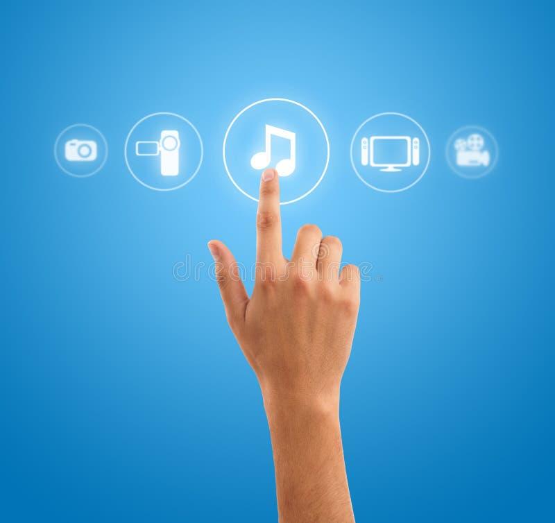 递图标媒体按符号的音乐附注 免版税库存图片