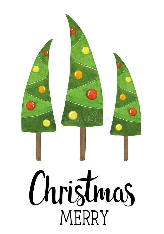 递图画与水彩圣诞树,球的圣诞卡 免版税图库摄影