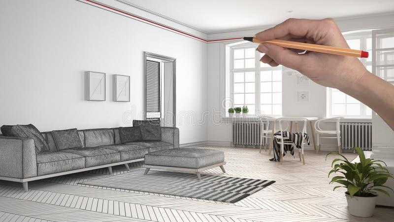 递图画有沙发和餐桌的习惯现代最低纲领派白色和木客厅 被剪裁的未完成的项目archite 库存例证