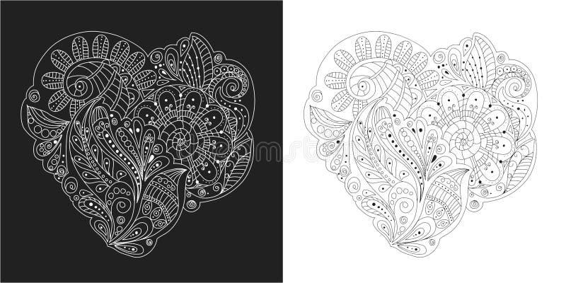 递图画zentangle元素黑白花、叶子和装饰元素在心脏形状 皇族释放例证