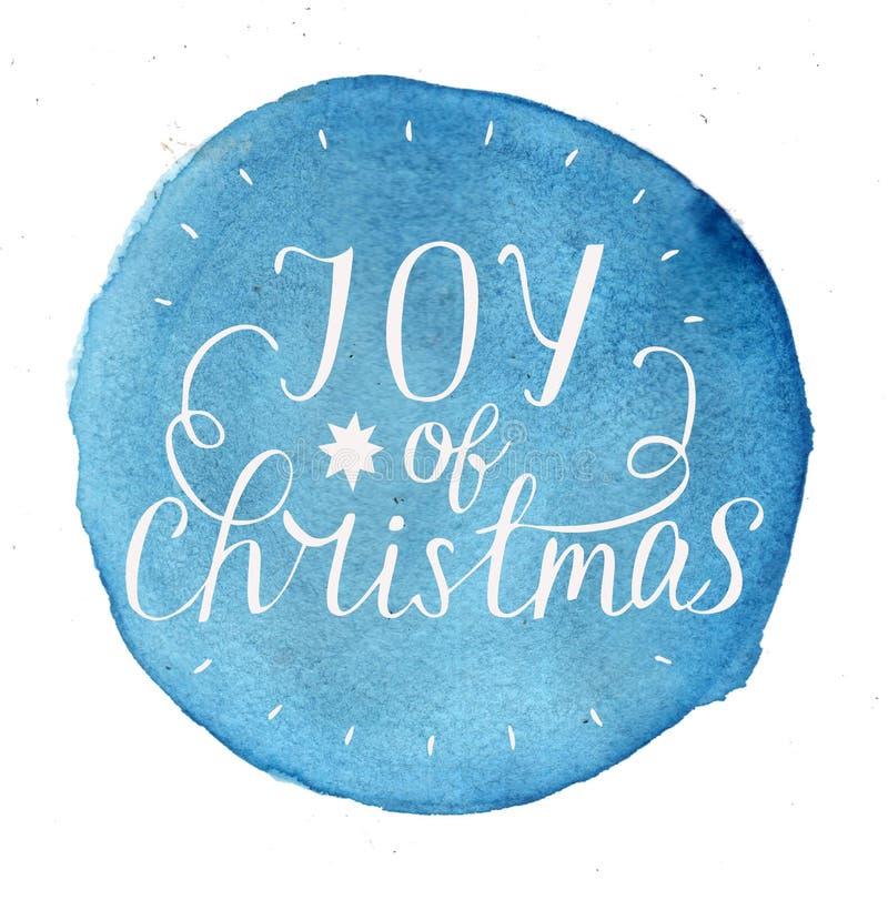 递圣诞节字法喜悦在蓝色水彩背景的 向量例证